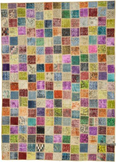 Multicolor Over-dyed Turkish Patchwork Rug - 5'9'' x 8' (69 in. x 96 in.)