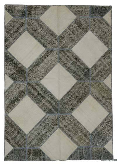 "Over-dyed Turkish Patchwork Rug - 5'6"" x 7'10"" (66 in. x 94 in.)"