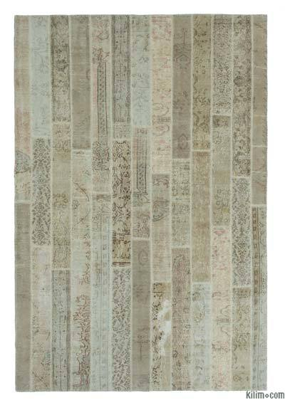 Beige Over-dyed Turkish Patchwork Rug - 6'8'' x 10' (80 in. x 120 in.)