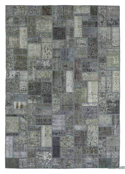 Grey Over-dyed Turkish Patchwork Rug - 6'9'' x 9'10'' (81 in. x 118 in.)