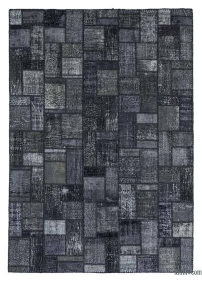 Black Over-dyed Turkish Patchwork Rug - 6'9'' x 9'9'' (81 in. x 117 in.)