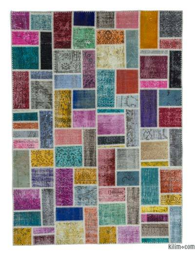 Multicolor Over-dyed Turkish Patchwork Rug - 5'9'' x 7'9'' (69 in. x 93 in.)