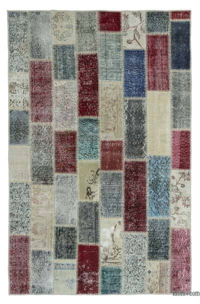Over-dyed Turkish Patchwork Rug - 4'10'' x 7'7'' (58 in. x 91 in.)
