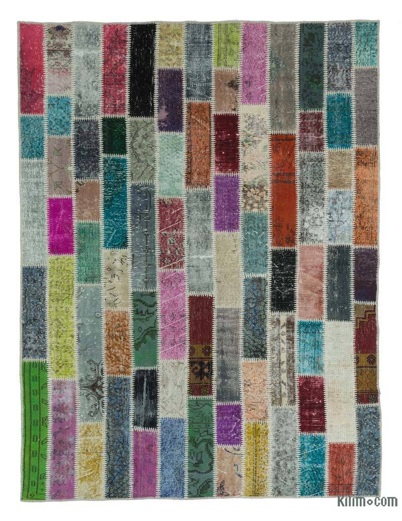 K0020270 Multicolor Over Dyed Turkish Patchwork Rug 6 X