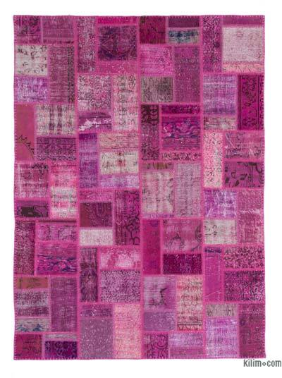 Fuchsia Over-dyed Turkish Patchwork Rug - 5'8'' x 7'10'' (68 in. x 94 in.)