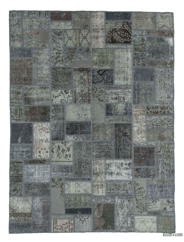 k0020275 grey over-dyed turkish patchwork rug | kilim rugs