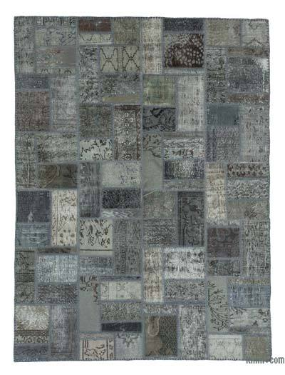 Grey Over-dyed Turkish Patchwork Rug - 5'9'' x 7'10'' (69 in. x 94 in.)