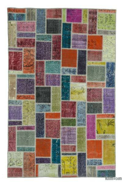 "Over-dyed Turkish Patchwork Rug - 5'5"" x 8'6"" (65 in. x 102 in.)"