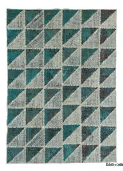 Over-dyed Turkish Patchwork Rug - 5'9'' x 8' (69 in. x 96 in.)