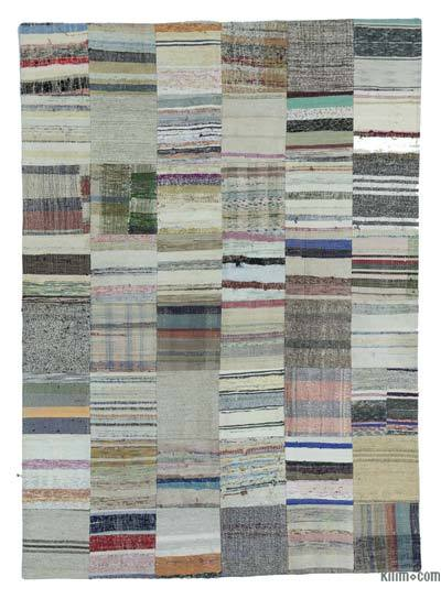 Beige, Multicolor Turkish Chaput Patchwork Rug - 5'9'' x 7'11'' (69 in. x 95 in.)