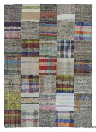 Multicolor Turkish Chaput Patchwork Rug - 4'10'' x 7'10'' (58 in. x 94 in.)