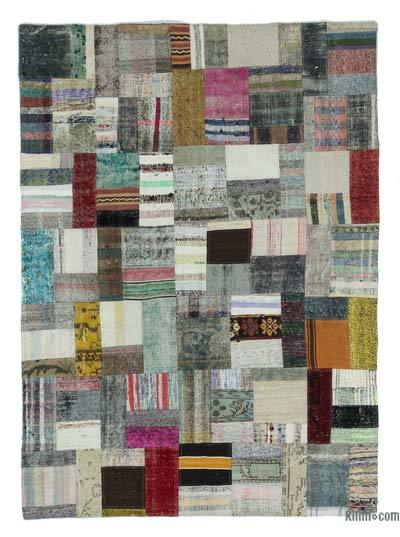 Beige Turkish Chaput Patchwork Rug - 5'7'' x 7'10'' (67 in. x 94 in.)