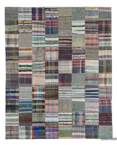 Multicolor Turkish Chaput Patchwork Rug - 7'10'' x 9'10'' (94 in. x 118 in.)