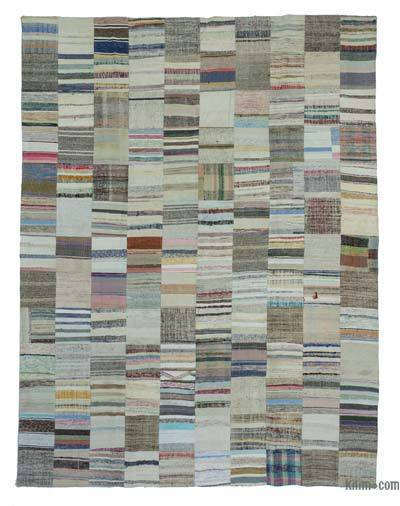 Beige, Multicolor Turkish Chaput Patchwork Rug - 9'11'' x 13'2'' (119 in. x 158 in.)