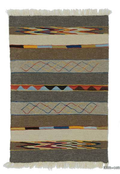Brown, Beige New Turkish Kilim Rug