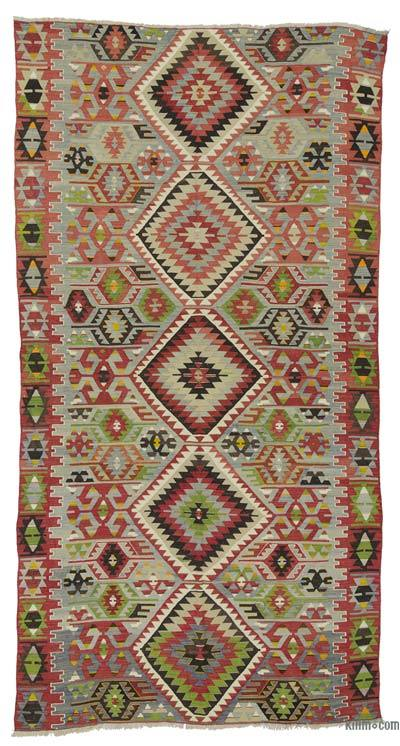 Light Blue Vintage Esme Kilim Rug - 5'4'' x 10'6'' (64 in. x 126 in.)