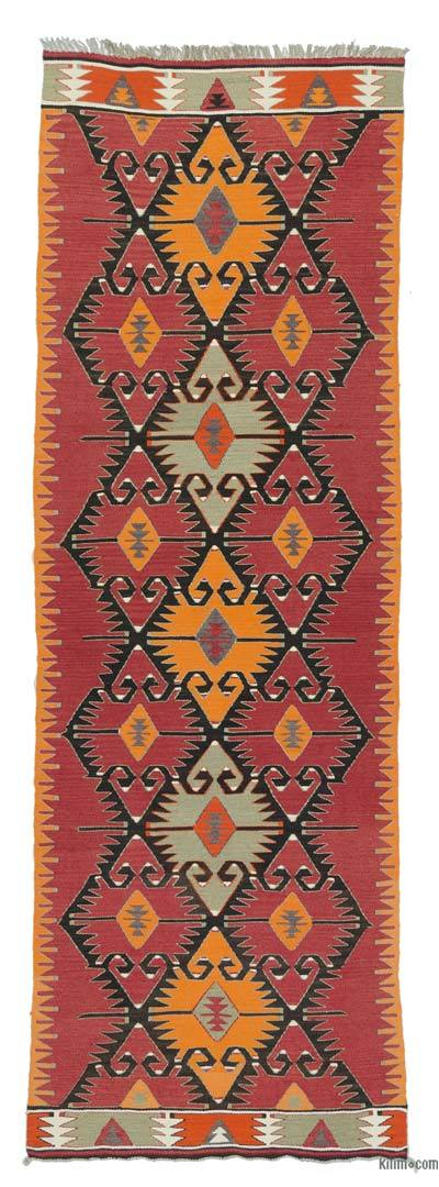 Red Vintage Mut Kilim Runner - 3' x 9'9'' (36 in. x 117 in.)