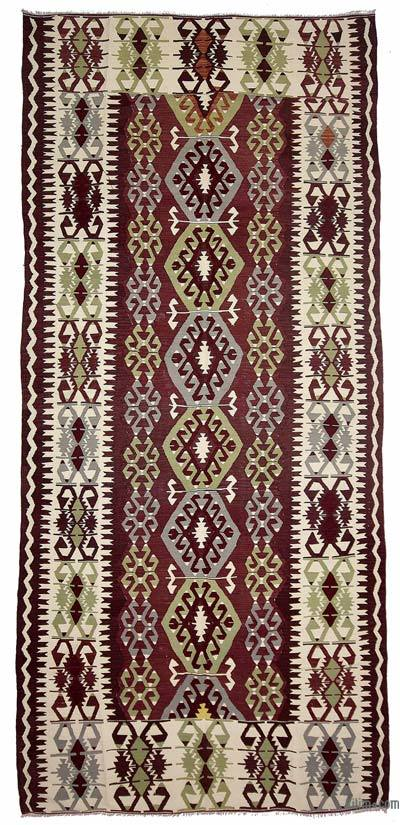 Purple Vintage Antalya Kilim Rug - 5'4'' x 12'4'' (64 in. x 148 in.)