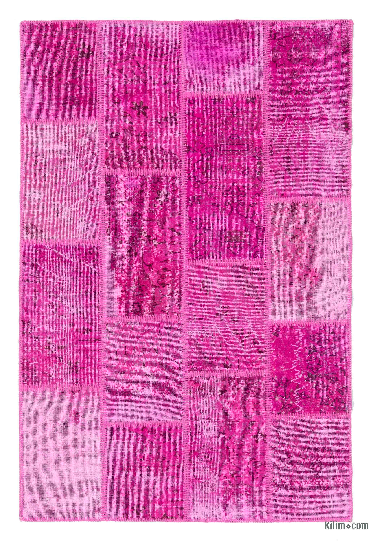 k0020734 pink over-dyed turkish patchwork rug   kilim rugs