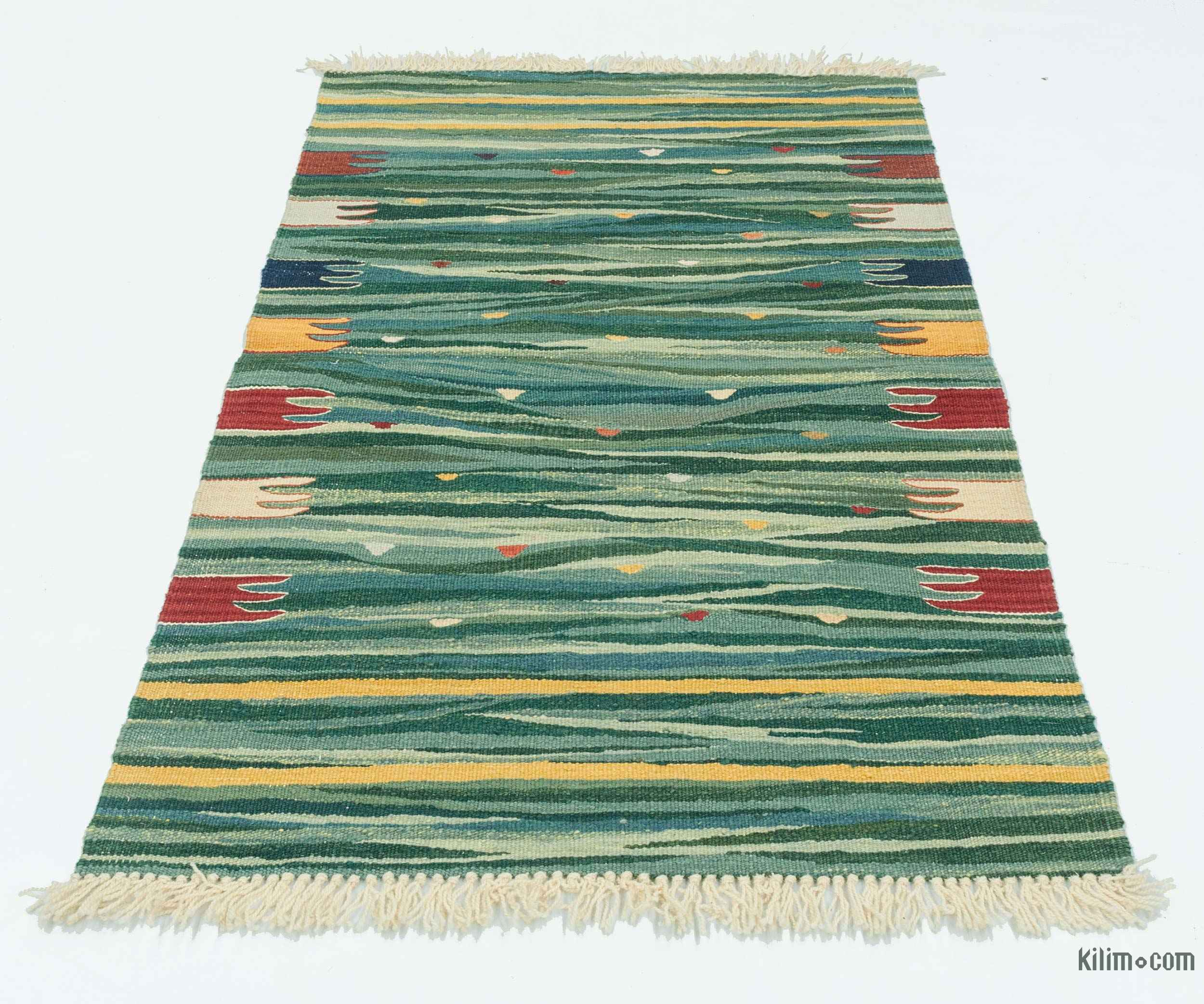 K0020769 Green New Turkish Kilim Rug