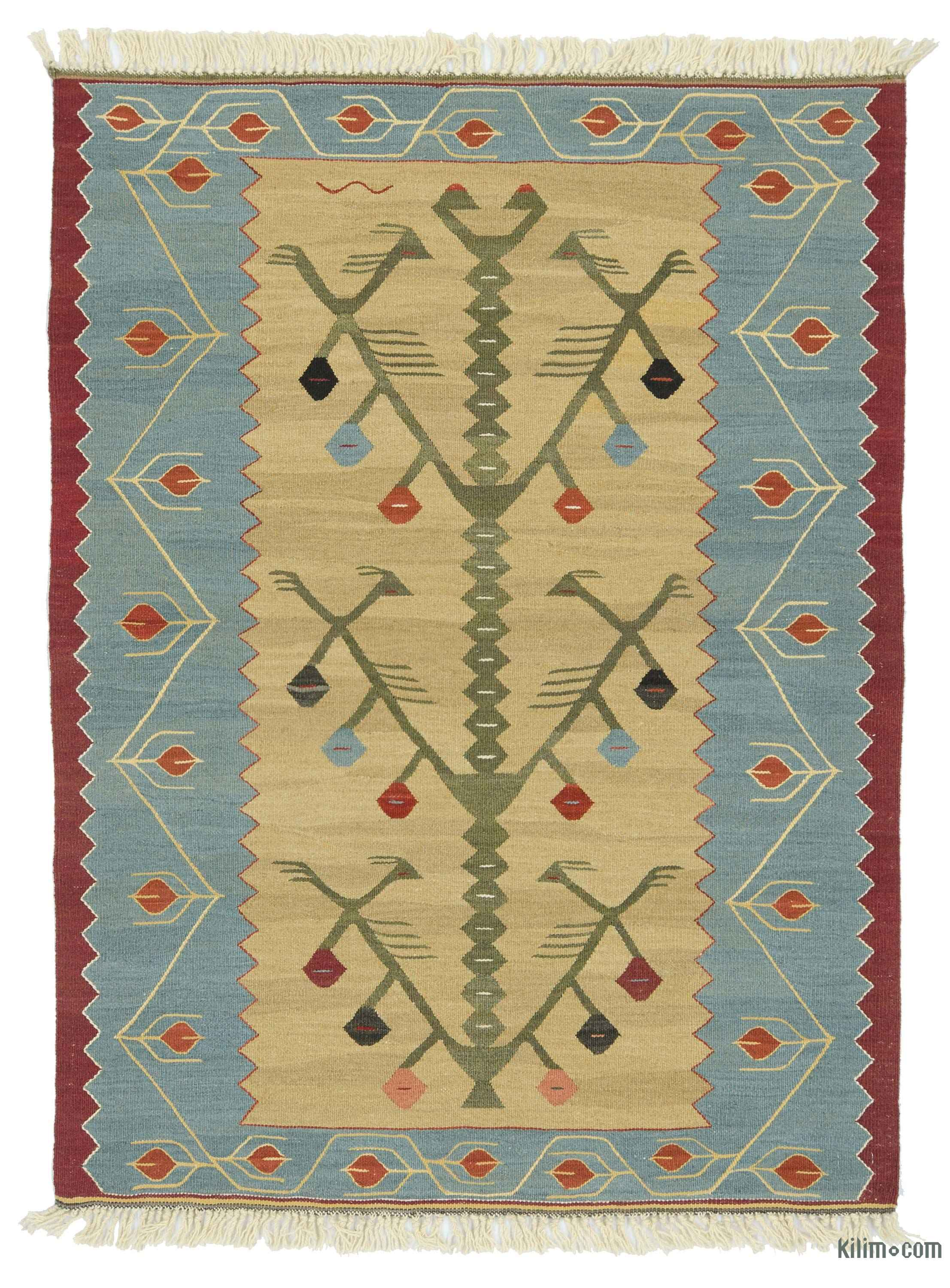Light Blue Beige New Turkish Kilim Rug