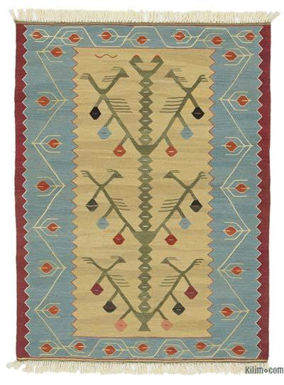 Light Blue, Beige New Turkish Kilim Rug