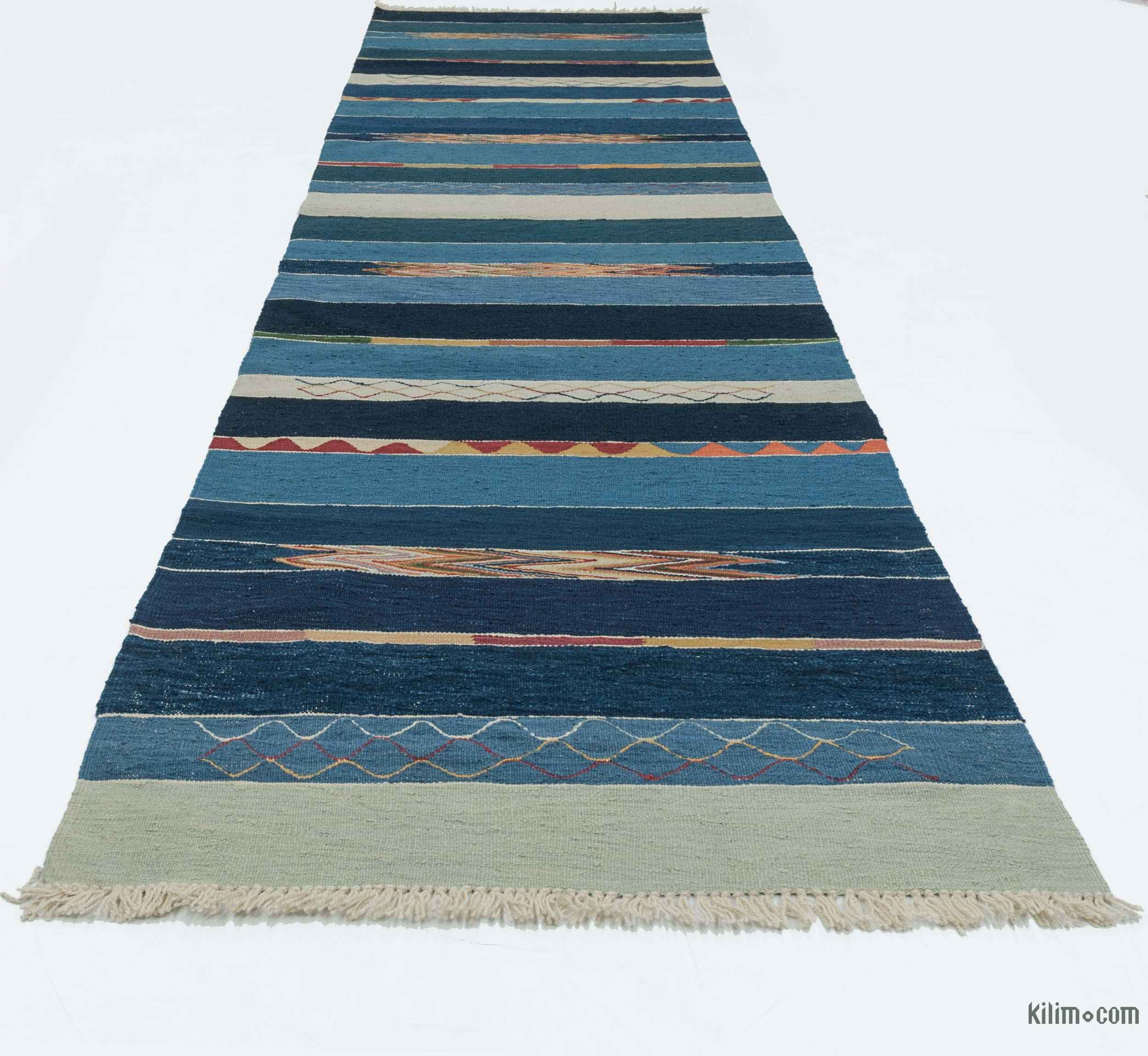 K0020810 Blue, Light Blue New Turkish Kilim Runner