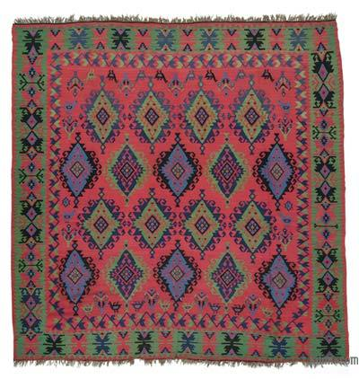 Red, Green Antique Sharkoy Kilim Rug