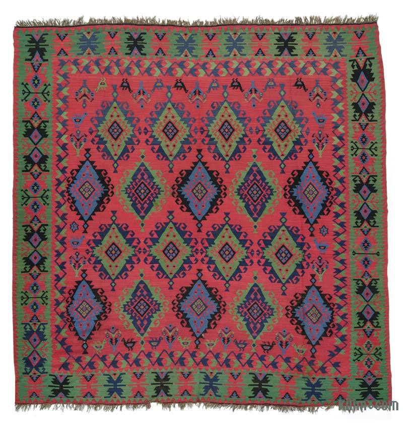 K0020816 Red, Green Antique Sharkoy Kilim Rug