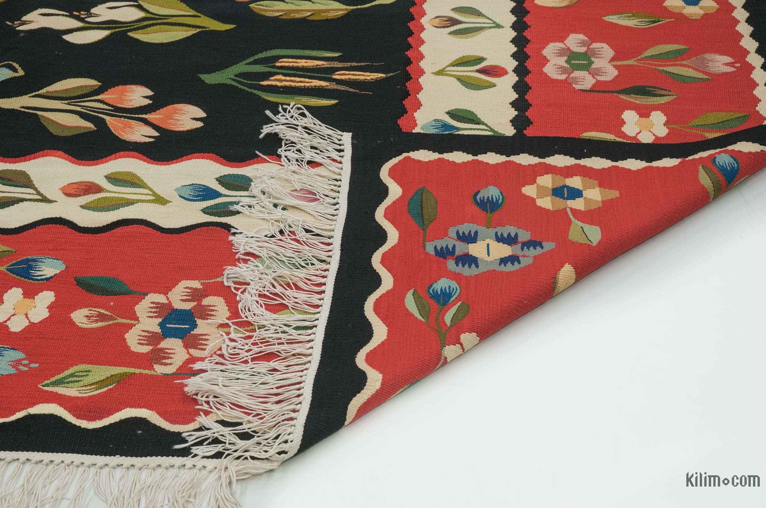K0020820 Black Red Vintage Romanian Kilim Rug 6 8 Quot X 10