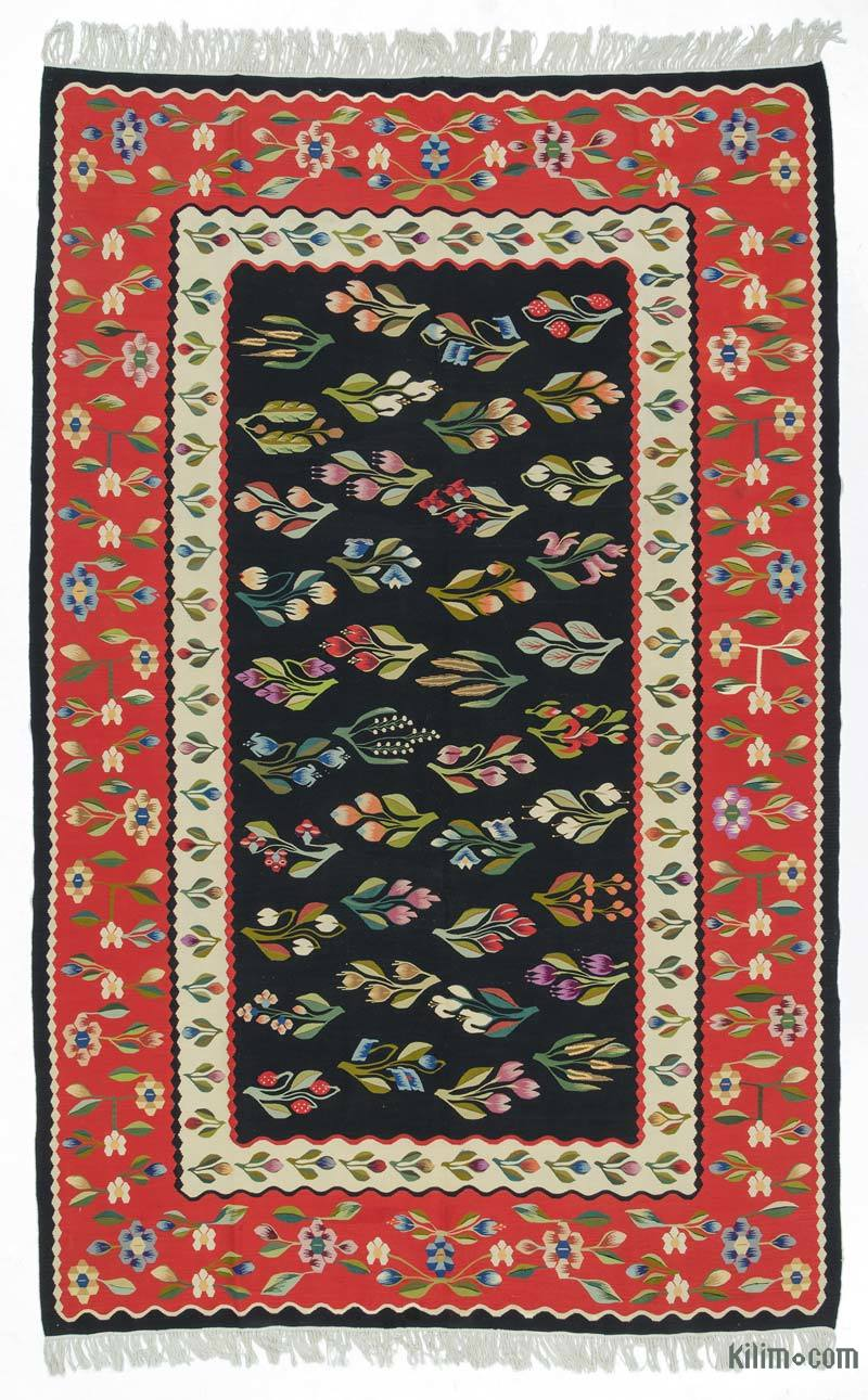 K0020820 Black Red Vintage Romanian Kilim Rug 6 8 X