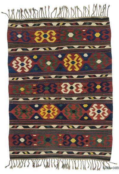 Red, Blue Antique Shahsavan Kilim Rug