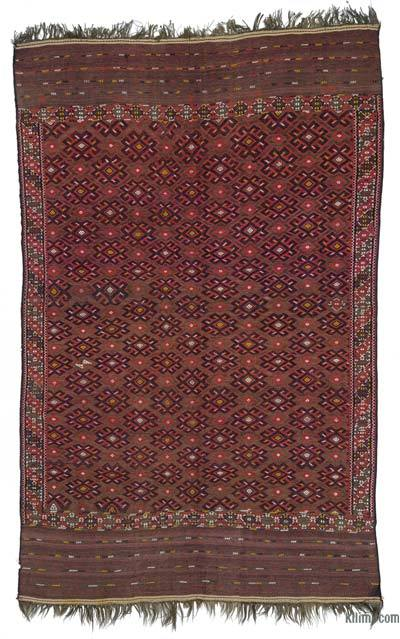 Red Antique Yomut Turkoman Kilim Rug