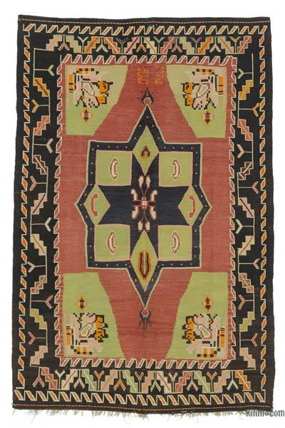 Red, Green Vintage Karabakh Kilim Rug - 5'3'' x 8'2'' (63 in. x 98 in.)