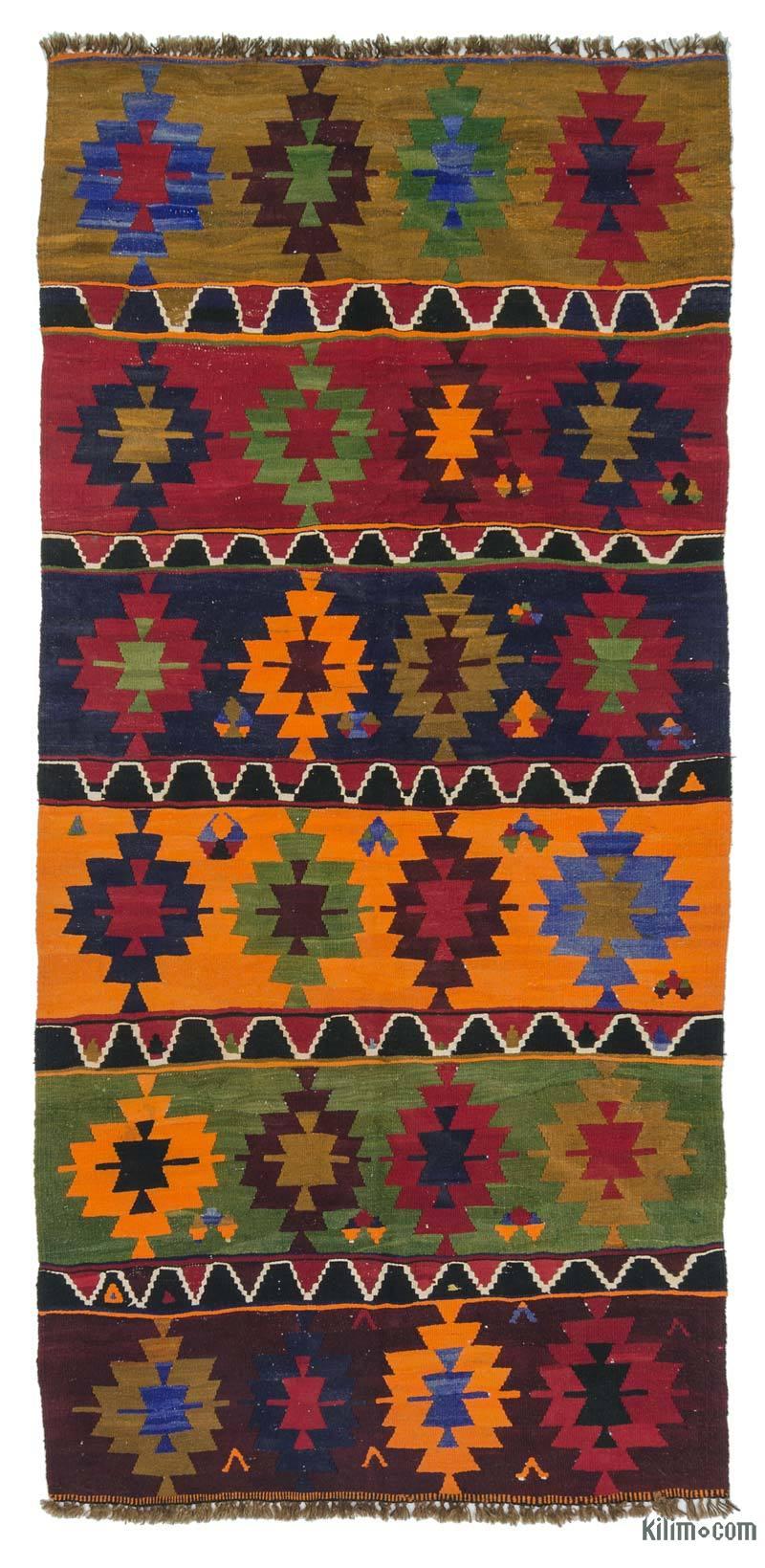 K0020858 Multicolor Vintage Turkish Kilim Rug 4 7 X 10