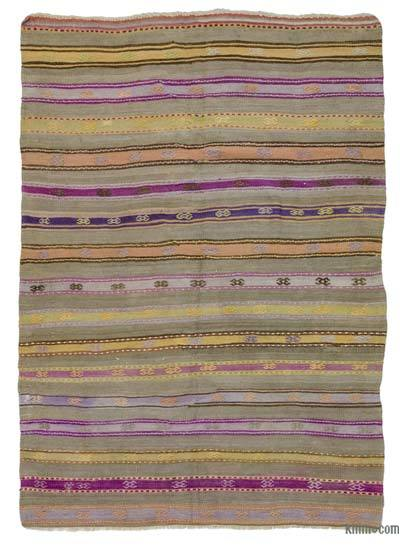 Purple, Green Vintage Fethiye Kilim Rug - 5'1'' x 6'11'' (61 in. x 83 in.)