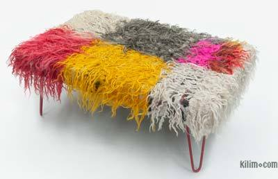 Mohair Ottoman with Hairpin Legs