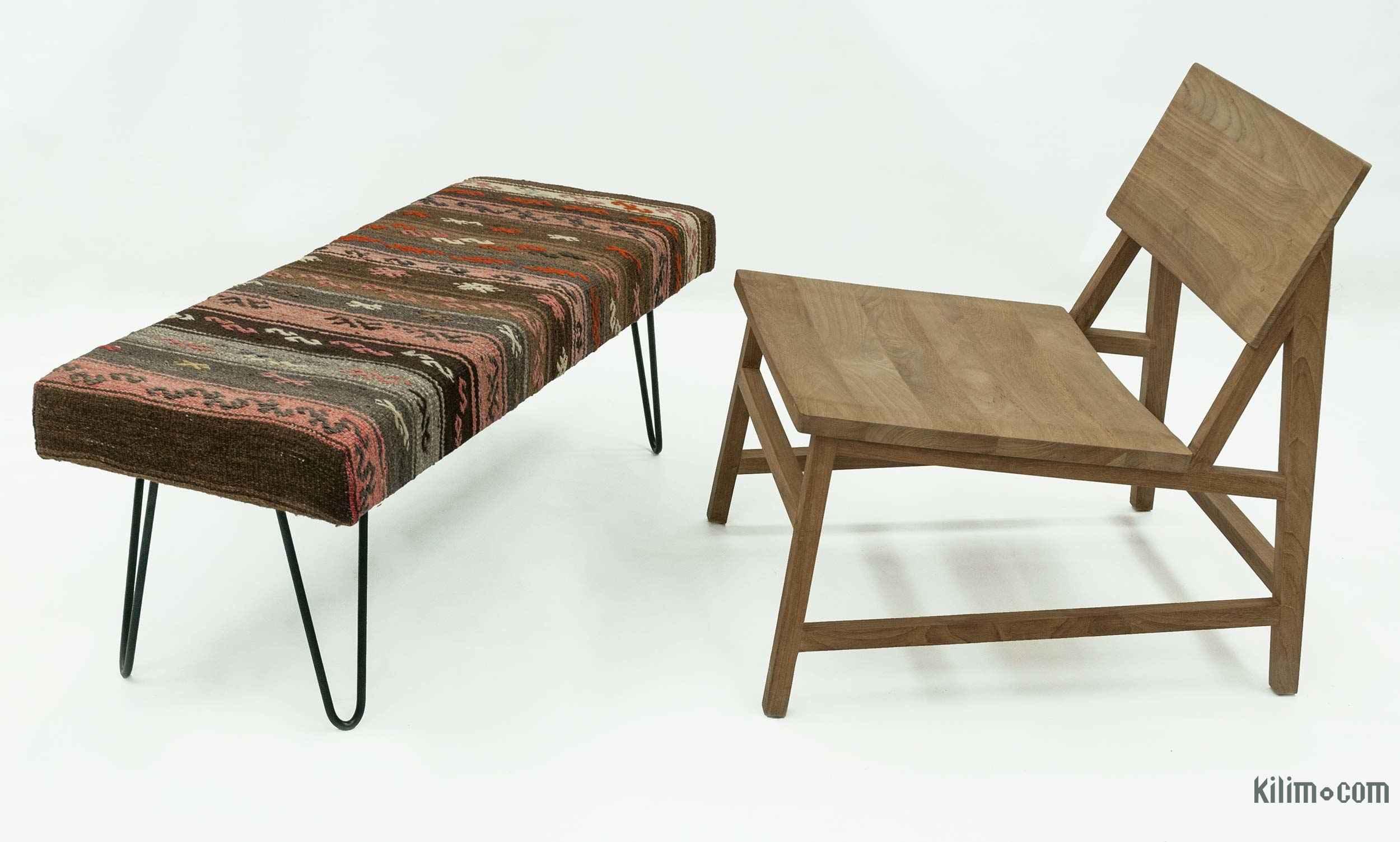 Kilim Ottoman Bench Kilim Pouf Bohemian Wooden Furniture ... |Kilim Ottoman Bench