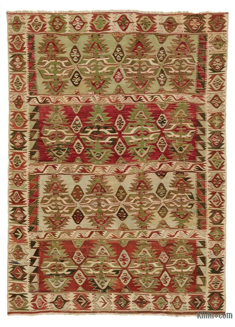 K0020923 Red Vintage Konya Kilim Rug 4 2 X 5 8 50