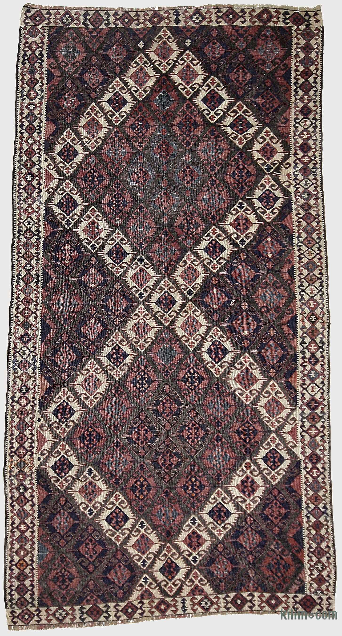 Blue Red Vintage Van Kilim Rug 4 9 X 2 57 In 110