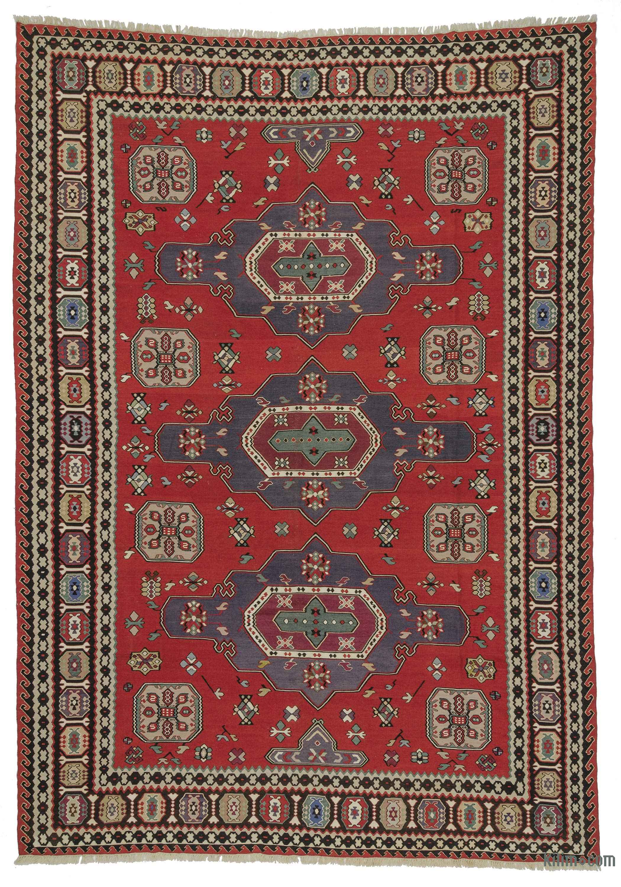 K0021033 red vintage balkan kilim rug for Kilim designs