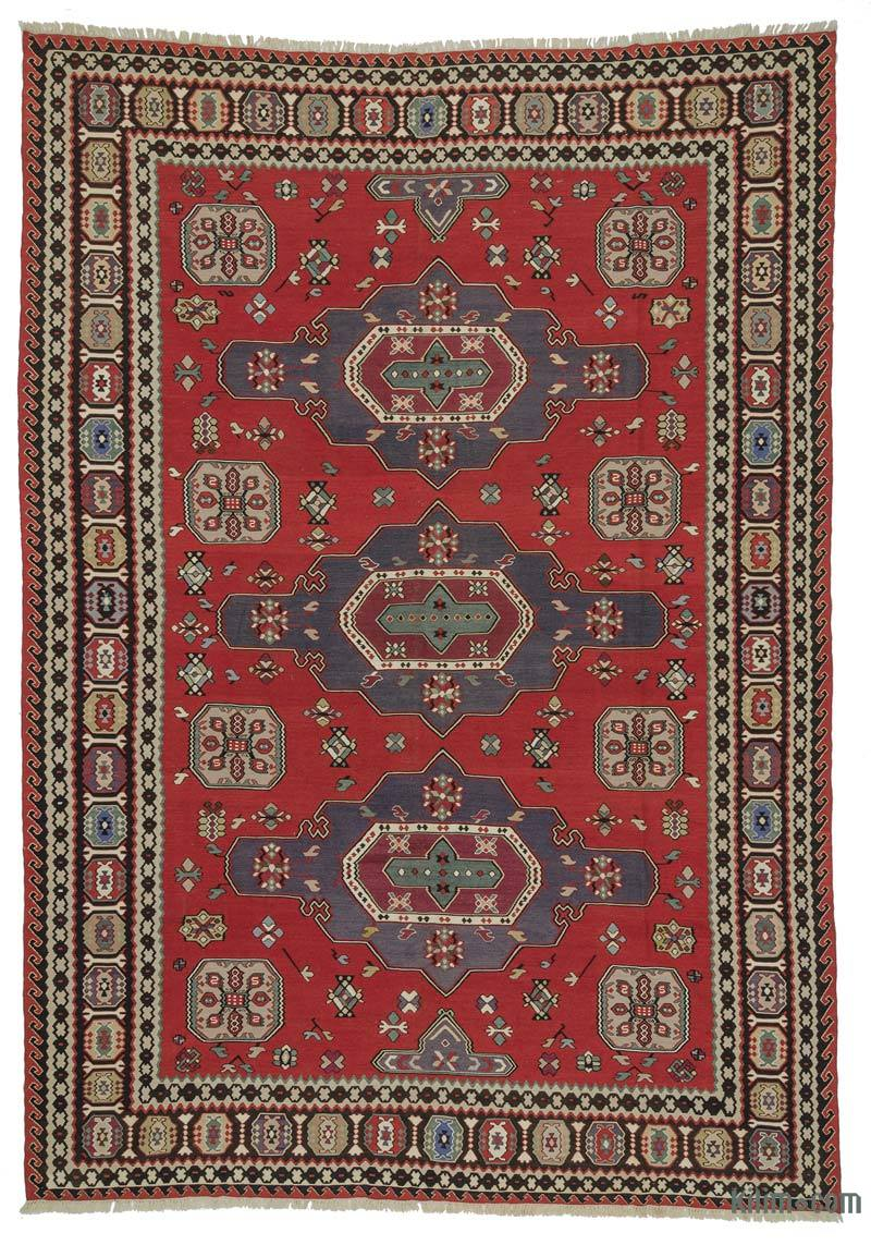 K0021033 Red Vintage Balkan Kilim Rug 8 X 13 1 96 In