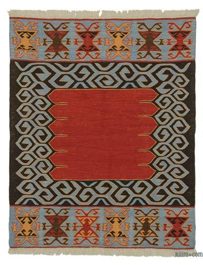 Red, Light Blue New Turkish Kilim Rug