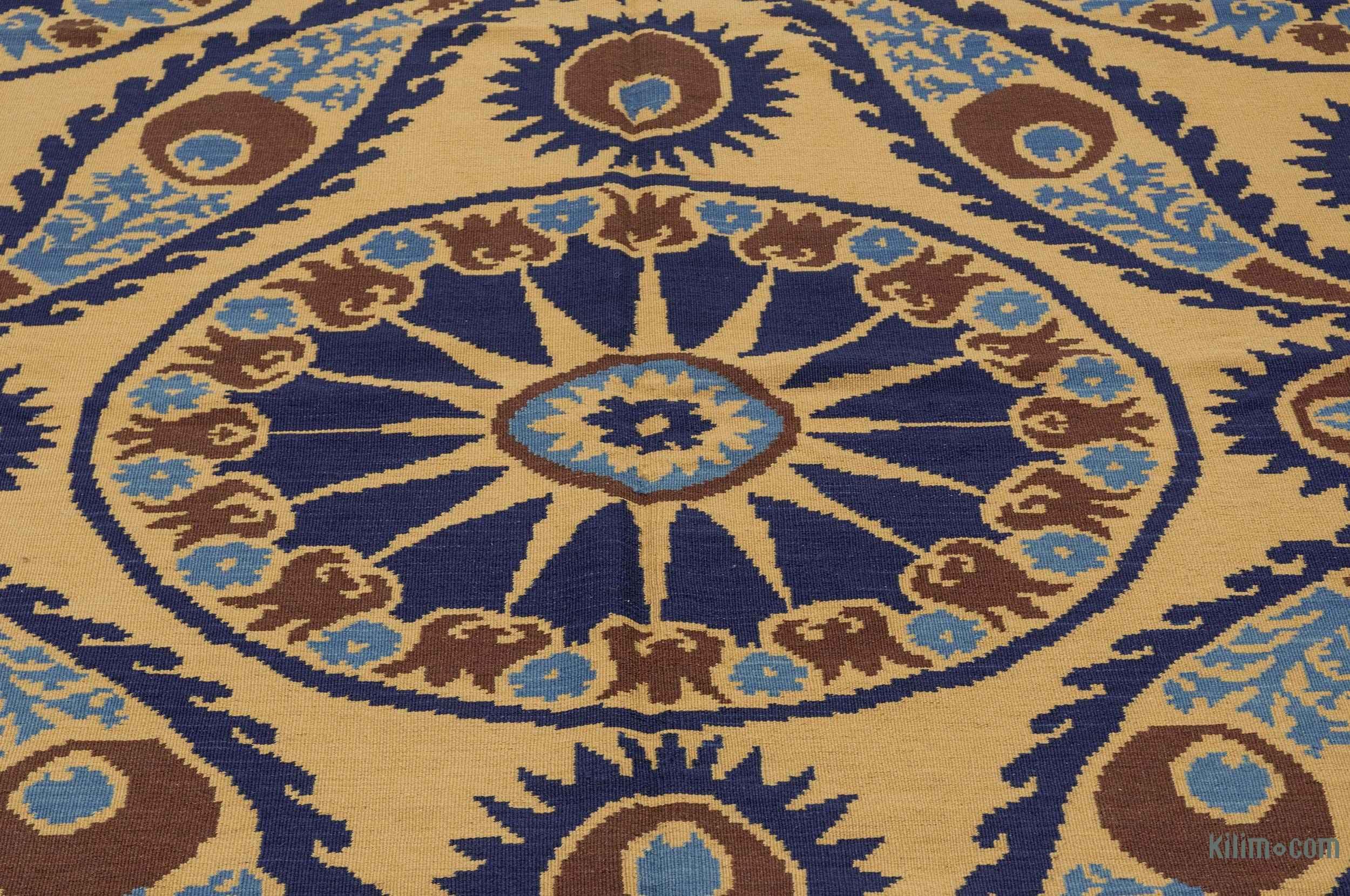K0021055 Beige Blue New Turkish Kilim Rug