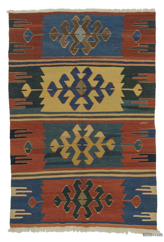 Blue Red New Turkish Kilim Rug