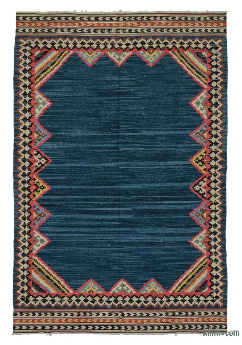 k0021087 blue new turkish kilim rug. Black Bedroom Furniture Sets. Home Design Ideas