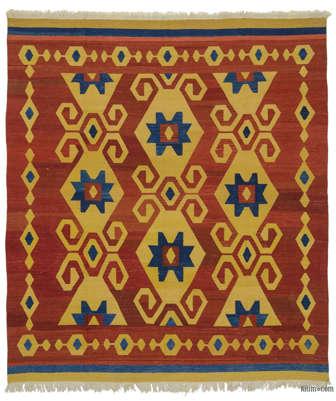 K0021091 Red, Yellow New Turkish Kilim Rug