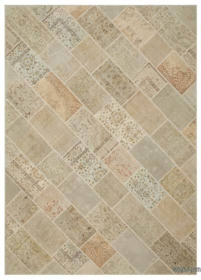 Beige Over-dyed Turkish Patchwork Rug - 10' x 14'1'' (120 in. x 169 in.)