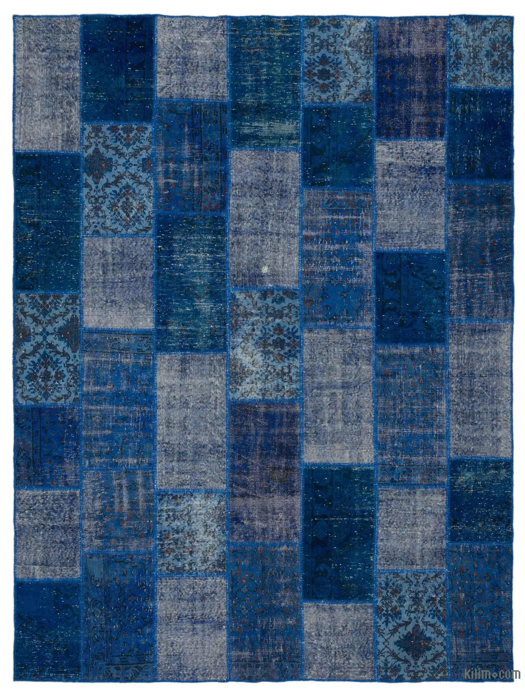 Blue Over Dyed Turkish Patchwork Rug K0021555