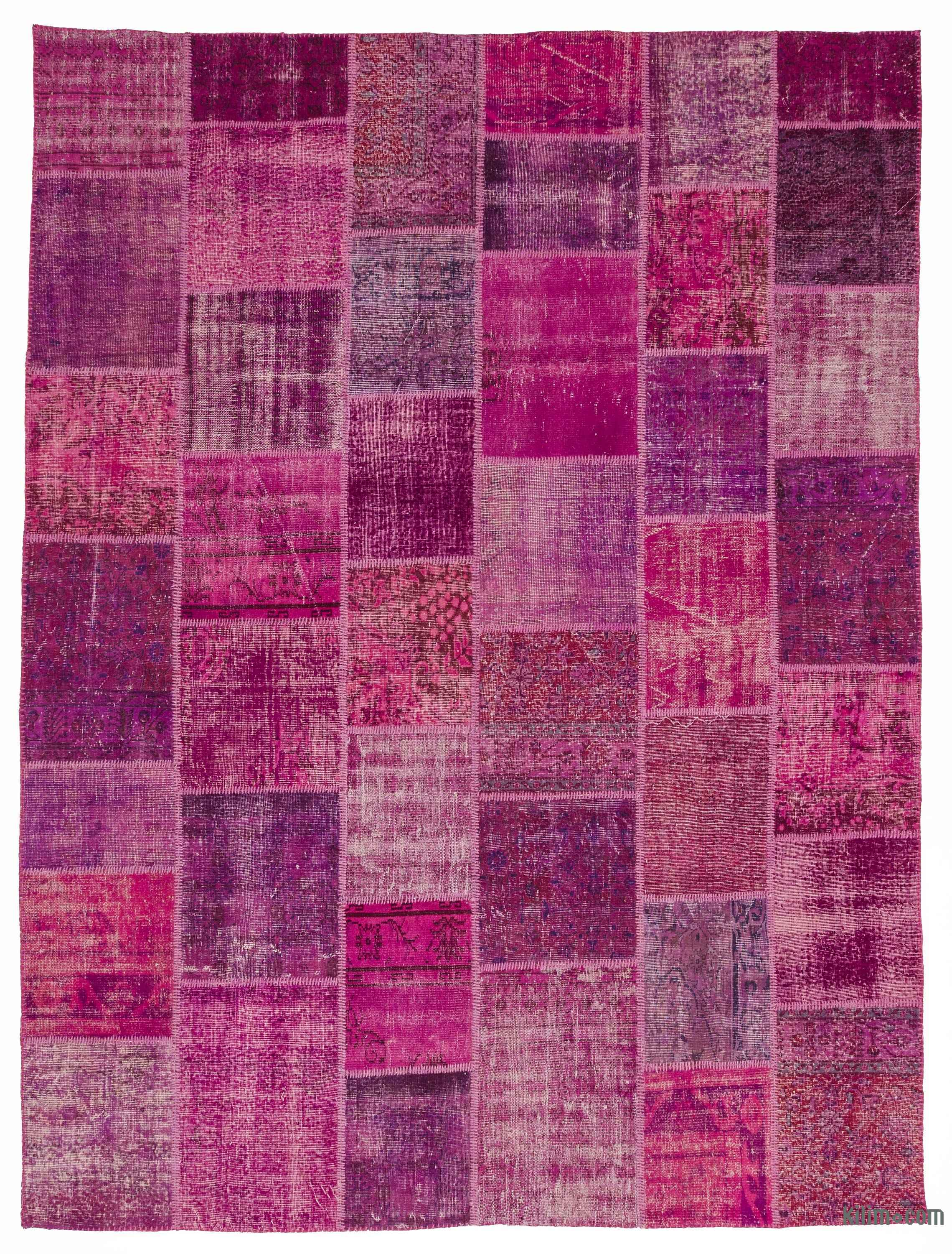 Fuchsia Over Dyed Turkish Patchwork Rug